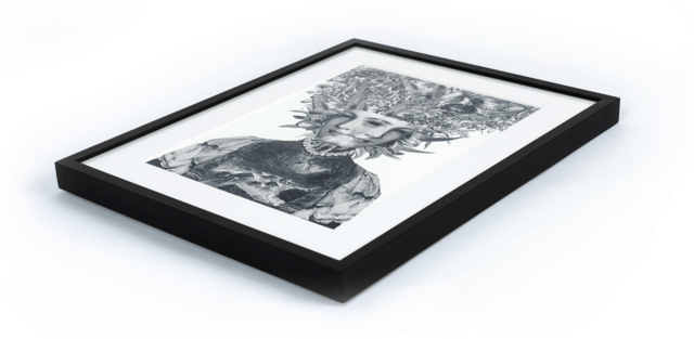 Bespoke black hand made picture frame with giclée print