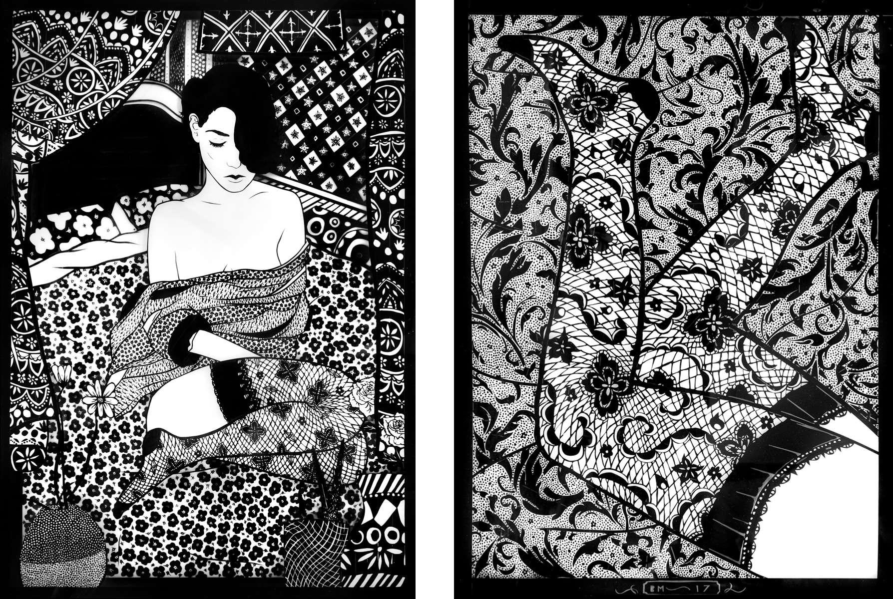 Benjamin Murphy tape art pieces from the Delphian Gallery exhibition Lavish Entropy