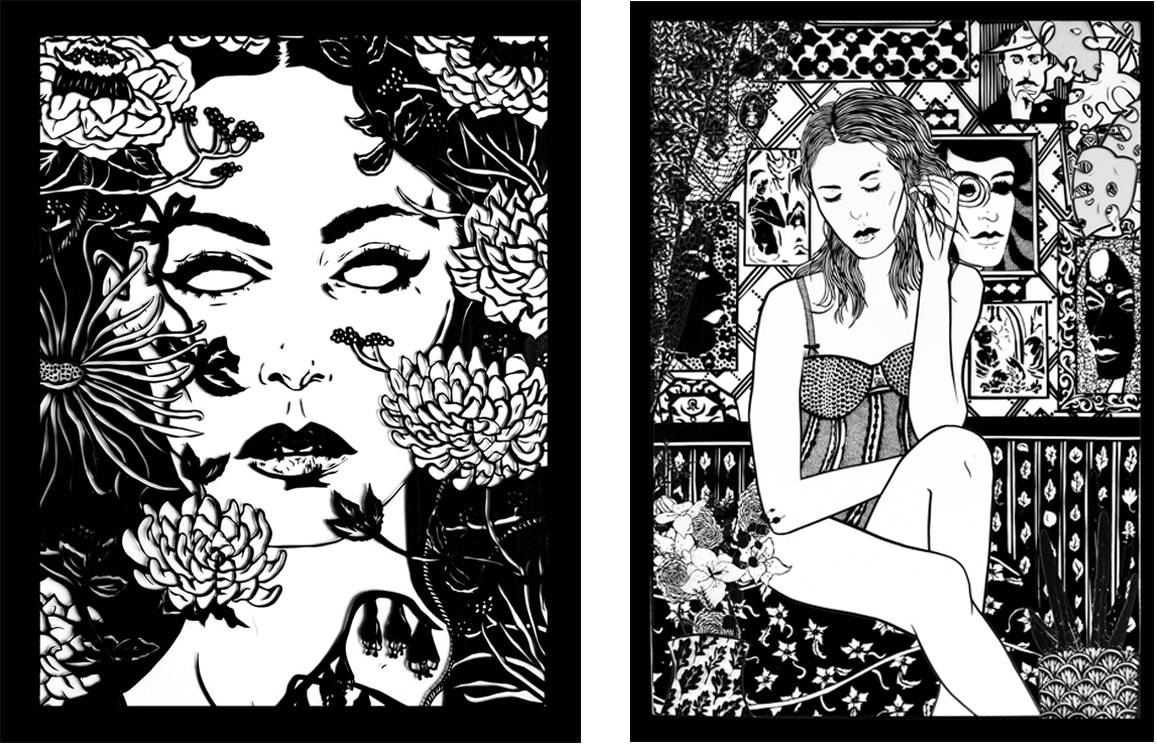 Benjamin Murphy tape art pieces for the Delphian Gallery exhibition Lavish Entropy