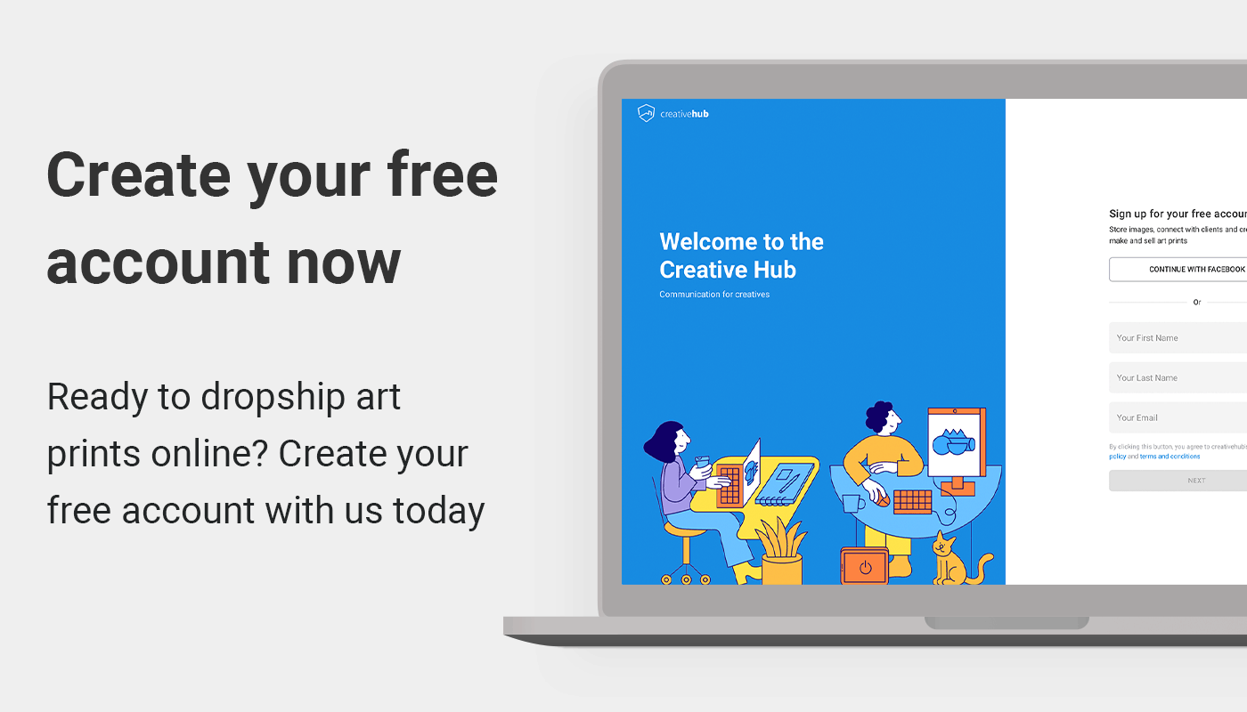Create your free creative hub account and dropship art prints online